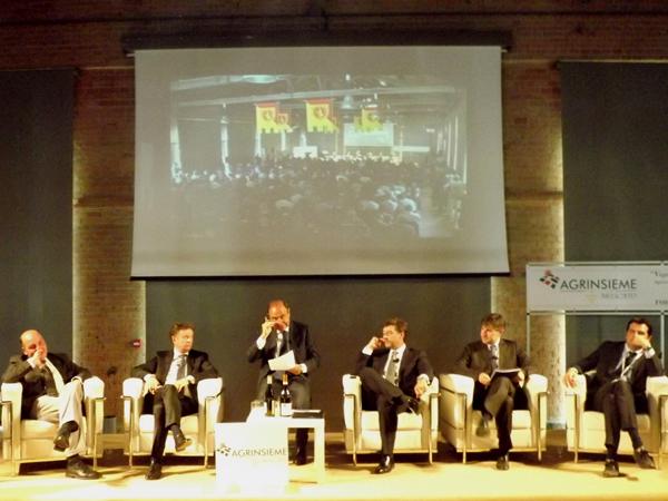 Da sinistra: Dino Scanavino, Giorgio Mercuri, Bruno Vespa, Mario Guidi, Andrea Olivero, Claudio Sacchetto