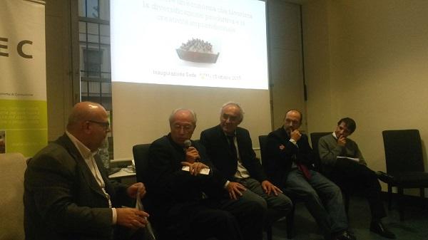Da sinistra, Francesco Oriolo, don Ermis Segatti, Livio Bertola, Mauro Ventura, Claudio Campanella